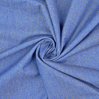 Tissu chambray coton traits bleu clair