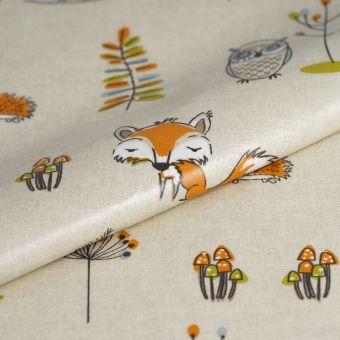 Tissu enduit épais renards orange
