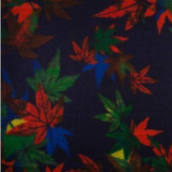Tissu lainage caban feuillages rouge