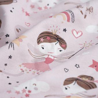 Tissu jersey coton ballerine rose