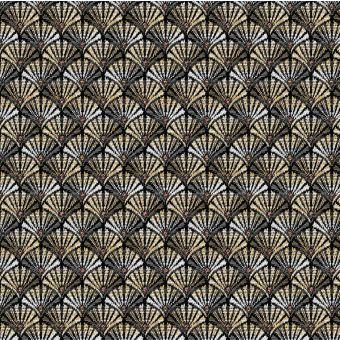 Tissu jacquard  gris or coton polyester à motifs art déco arcade