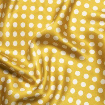 Tissu satin de soie moutarde imprimé pois fait en Italie