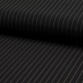 Tissu gabardine polyester stretch noir à rayures fines