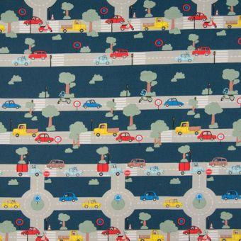 Tissu popeline coton bleu marine voitures