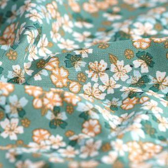 Tissu cretonne vert fleurs de cerisier