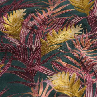 Tissu jacquard palmes roses jaunes
