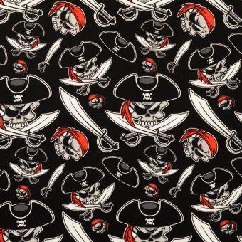 Tissu Carnaval coton pirates noir