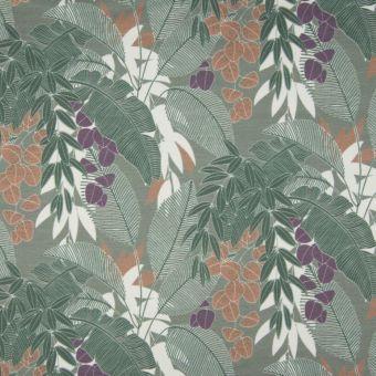 Tissu molleton sweat bio French Terry feuilles palmiers vert kaki