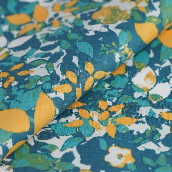 Tissu popeline coton feuillage vert bleu