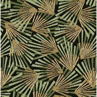 Tissu jacquard vert et or à motifs palmes graphiques gamma