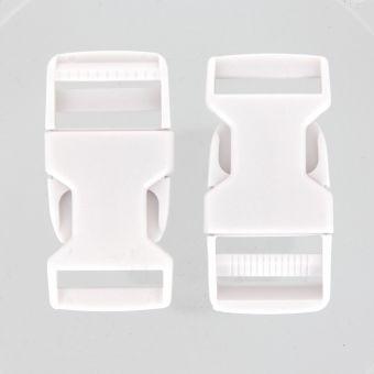 Boucles à ouverture rapide blanches en plastique 25 mm