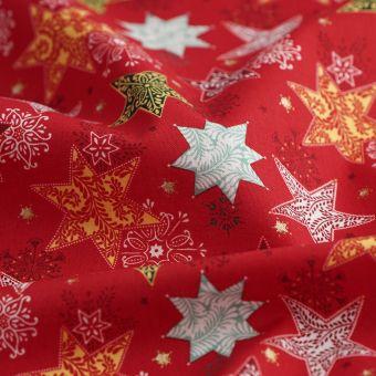 Tissu de Noël cretonne étoiles rouge