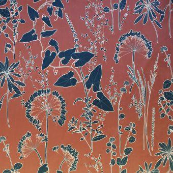 Tissu velours Amarinthe fond orange