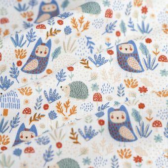 Tissu coton épais bois joli hérissons