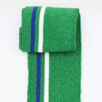 Bord côte brillant rayures fines vert