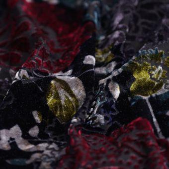 Tissu velours noir fleurs
