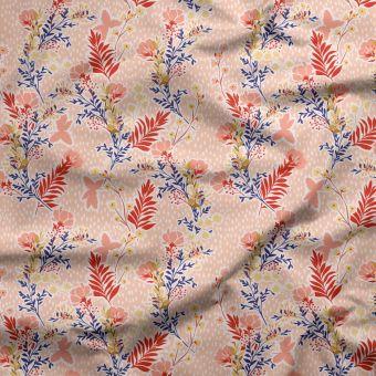 Tissu PUL pour couches lavables herbiers rose - La Panda Love Fabrics