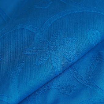 Voile de coton bleu arabesques