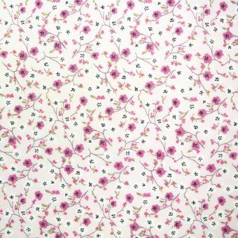 Tissu coton petites fleurs rose