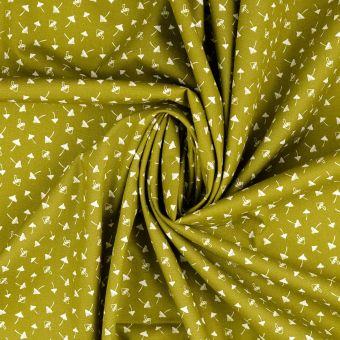 Tissu popeline de coton vert kaki clair à motifs champignons