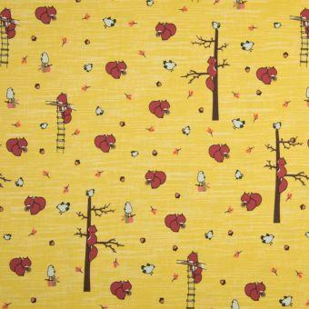 Tissu jersey coton rose écureuil