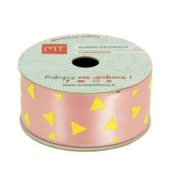 Bobine ruban satin rose triangles 25 mm