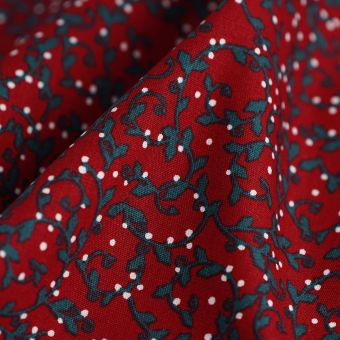 Tissu de Noël coton guirlande de Gui rouge