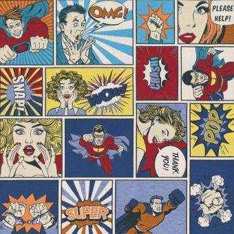 Tissu jacquard comics multicolore