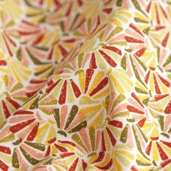 Tissu popeline coton éventail ocre