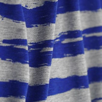 Tissu jersey coton polyester rayures bleues