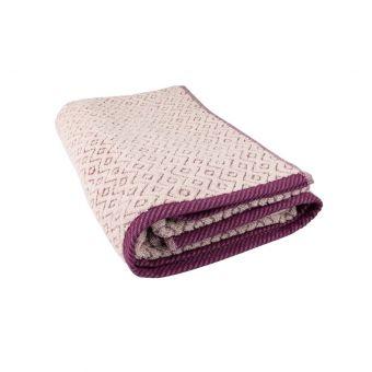 Drap de douche losanges violets 70x140