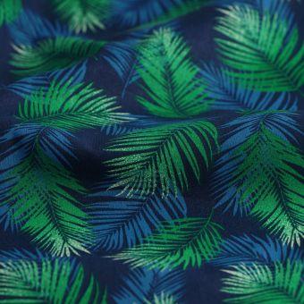 Tissu coton petites palmes vert et bleu