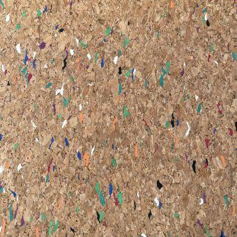 Tissu liège incrusté de couleurs multicolores