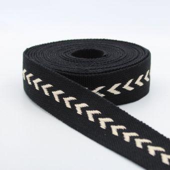 Sangle coton à motif chevrons 38mm noir