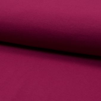 Tissu molleton sweat french terry coton bio uni rose framboise