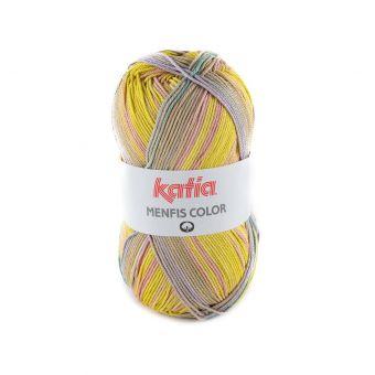 Fil à tricoter Katia Menfis Color vert et jaune