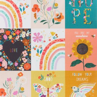 Tissu popeline de coton patchwork printanier à message Dashwood Studio