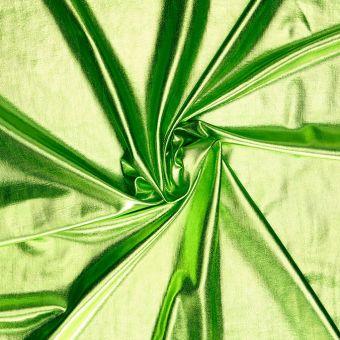 Tissu extensible aspect métallisé vert