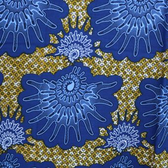 Tissu wax coquillages bleus - Karabashop