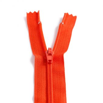 Fermeture polyester non séparable à glissière - Orange