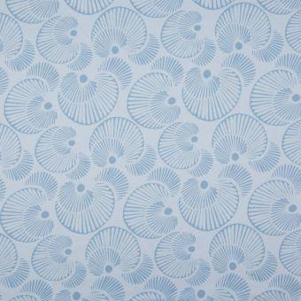 Tissu interlock coton bio cercle bleu