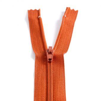 Fermeture polyester non séparable à glissière - Marron orange