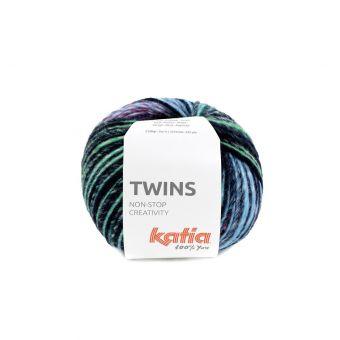 Pelote de fil à tricoter Katia Twins jaune vert rose