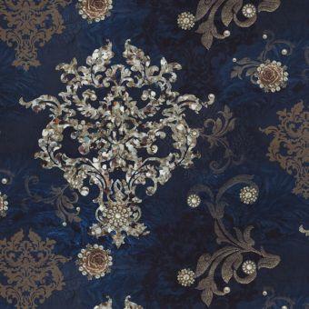 Tissu velours broderie vintage bleu