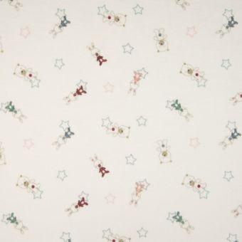 Tissu velours éponge écru motifs lapins et nounours