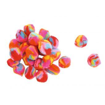 Pompons multicolore 0,9 à 1,5 cm 45 pièces