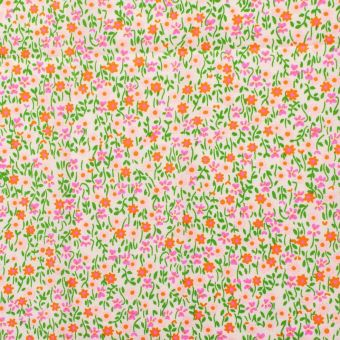 "Tissu Petit Pan coton enduit brillant ""Flower Power"" rose"