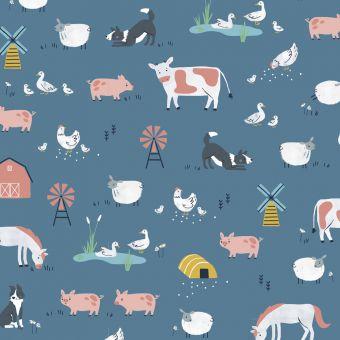 Tissus popeline de coton Dashwood motifs animaux de la ferme bleu