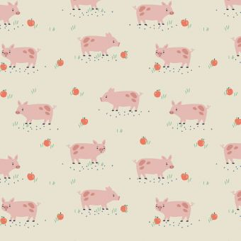 Tissus popeline de coton Dashwood motifs cochons écru