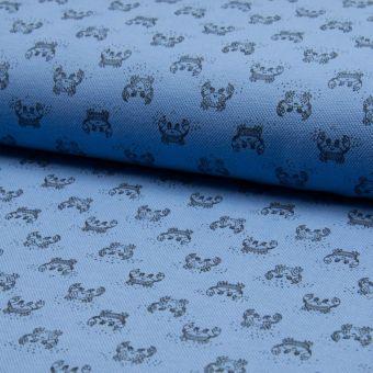 Tissu piqué de coton à motifs crabe bleus